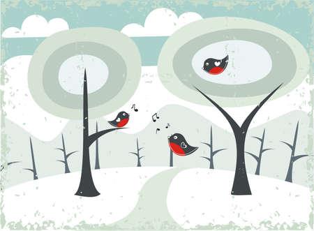 garden key: grunge winter landscape with birds  Illustration
