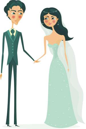 happy bride and groom  Vector