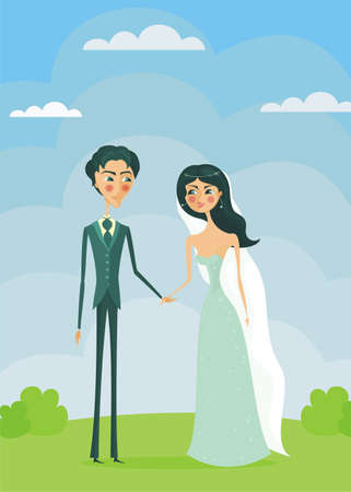 bride and groom outside  Vector