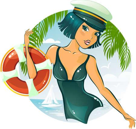 barco caricatura: chica sexy con el cintur�n de la vida