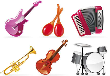 maracas: cartoon icons of 6 musical instruments