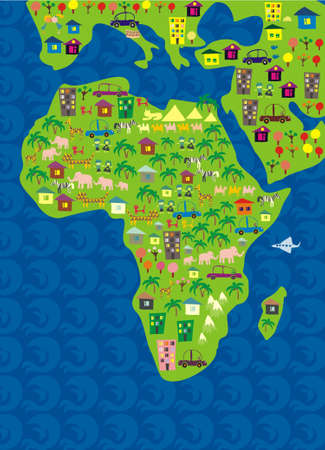 map of africa: cartoon map of the world
