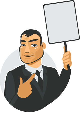 man showing the blank banner Stock Vector - 11780509
