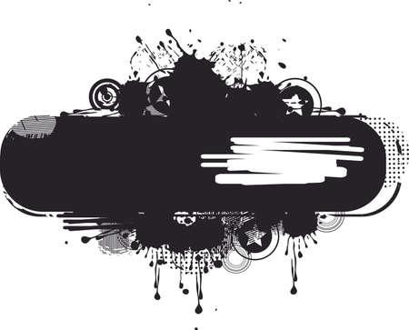 ink splat: negro estandarte del grunge Vectores