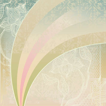 vintage background with flowers and rainbow Stock Vector - 11780600