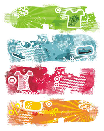 grunge banners with clothes on white Stock Vector - 11780595