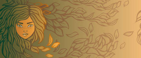 autumn girl banner Vector