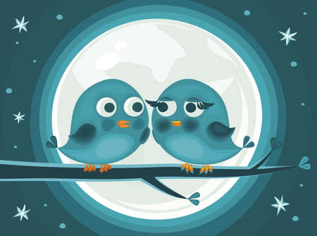 cute love birds against the moon Vector