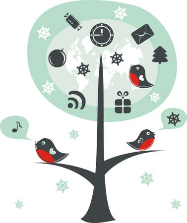 birds on a tree with xmas icons Vector