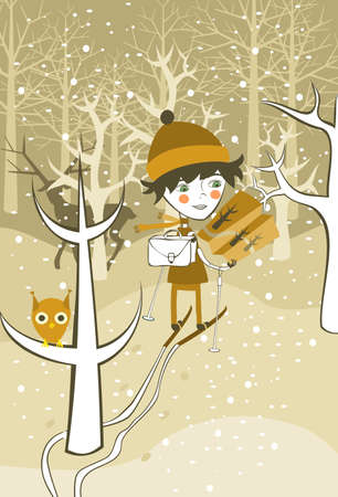 awl: boy skiing in the forest  Illustration