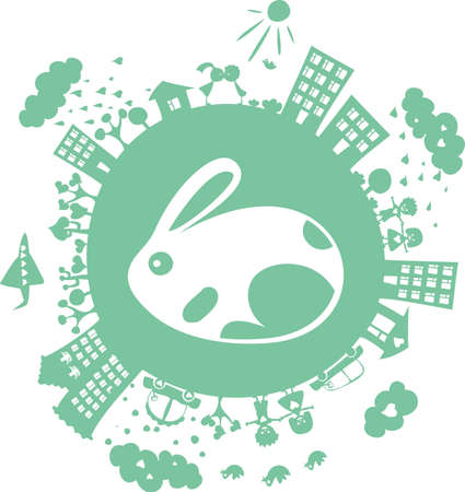 easter bunny on globe Vector