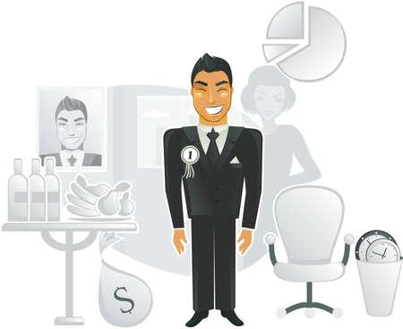 happiest office worker Stock Vector - 11898399