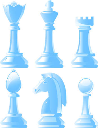 chess move: Shiny chess pieces in vector Illustration