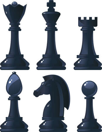 black shiny chess pieces  Vector