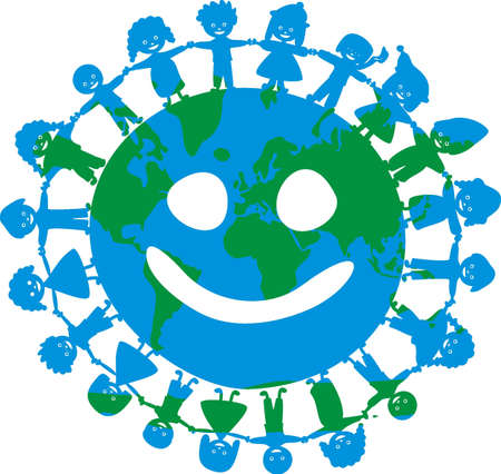 multicultural group: happy children of the world