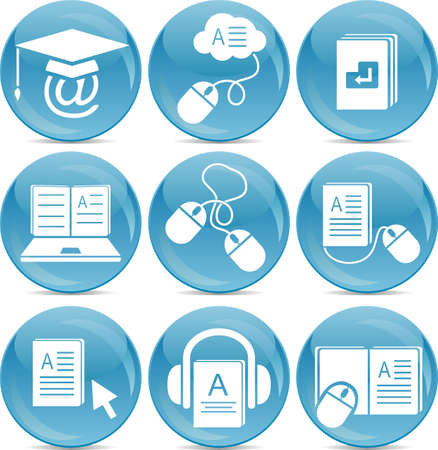 e-learning icons Stock Vector - 11911927