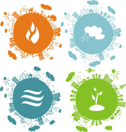 soils: conceptual illustration of 4 globes with icons of natural elements on