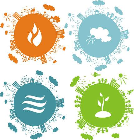 soils: illustrazione concettuale di 4 globi con le icone di elementi naturali