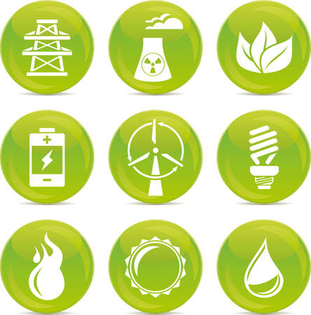 energy glossy icons Vector