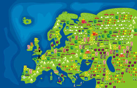 carte europe: Plan de bande dessin�e de l'Europe