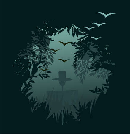 Forest background with a scarecrow Vector