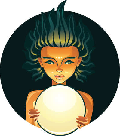 fortune telling: Pretty girl with fortune telling ball