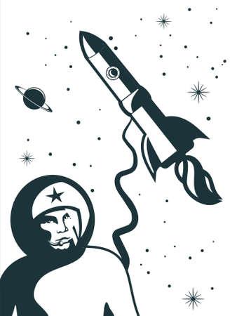 rocket ship: Retro spaceman on white