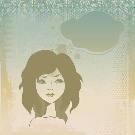 Grungy background with a girl thinking Stock Vector - 11898434