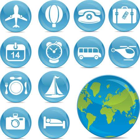 voyage: brillant icônes vecteur voyage