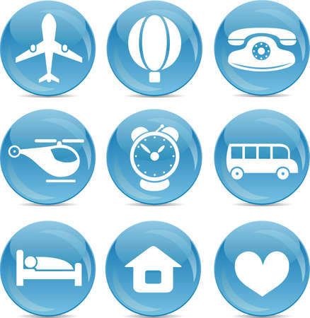 Blue ball icons travel Vector