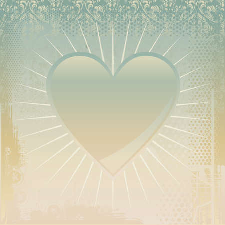 grungy background with shiny heart Stock Vector - 11898435
