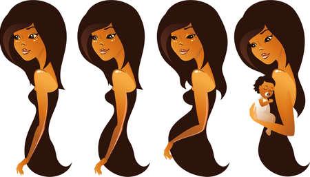 животик: Беременность этапов Иллюстрация