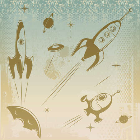 Grungy background with rockets ain space Illustration