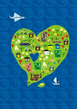 tierra caricatura: forma de isla del coraz�n para San Valent�n d�a