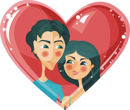 lover boy: couple in heart  Illustration