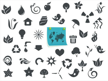 ecological icons with a sticker Stock Vector - 12061851