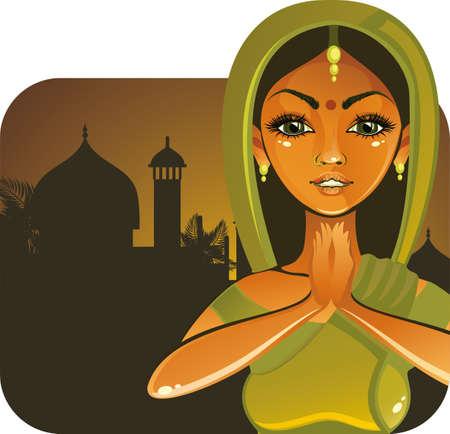 fille indienne: Jolie fille indienne dire bonjour Illustration