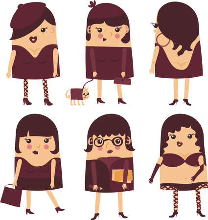 6 cartoon ladies  Vector