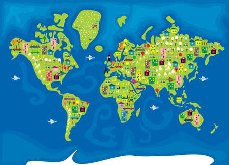 cartoon world: CARTOON MAP OF THE WORLD IN VECTOR  Illustration