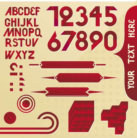 retro font: Carattere Retro in vettoriale Vettoriali