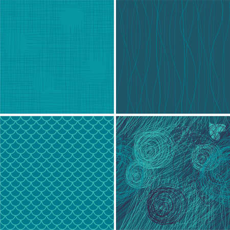 set of 4 blue seamless backgrounds Vector