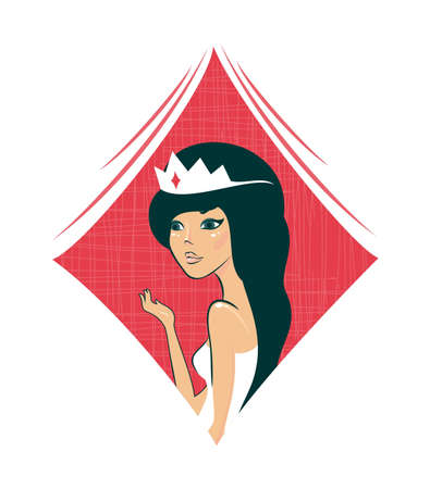 cartoon queen of diamonds Stock Vector - 12374000