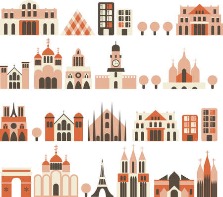 church window: cartoon european houses in vector  Illustration