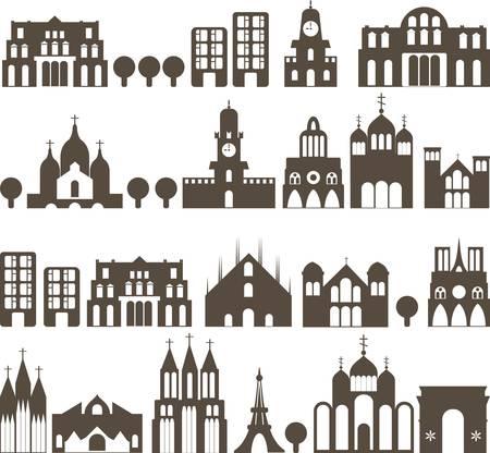 cath�drale: silhouette de maisons traditionnelles europ�ennes - rue transparente