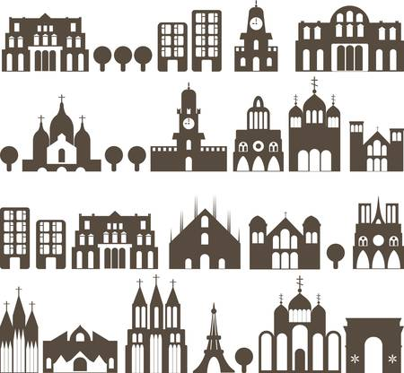 church window: silhouette of european traditional houses - seamless street