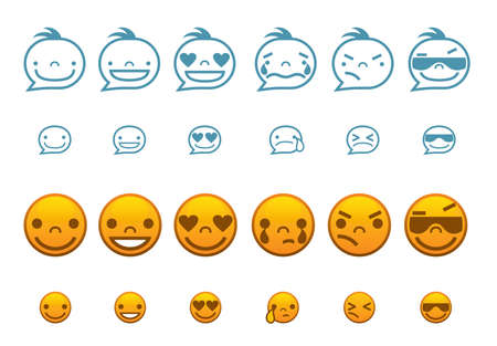 choleric: Set round smilies symbolising various human emotions