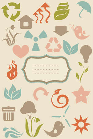 evaporation: retro environment icons and banner  Illustration