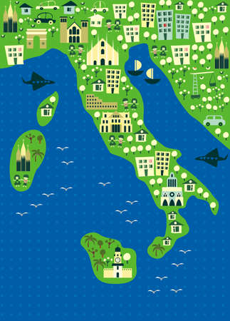 large house: cartoon map of italy  Illustration