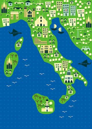 vatican city: cartoon map of italy  Illustration