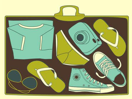 radiografía del interior del equipaje de viaje